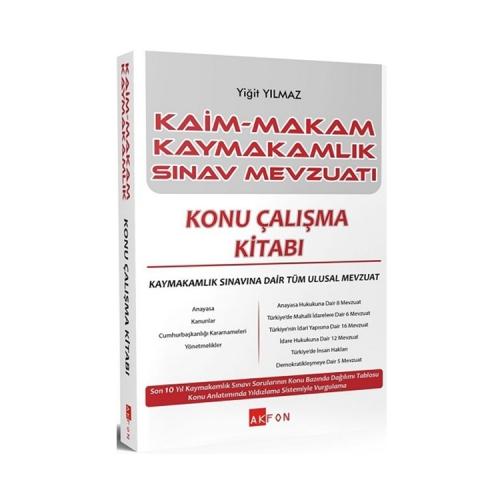 Akfon Yayınları Kaim Makam Kaymakam Sınav Mevzuatı Konu Çalışma Kitabı 2 Cilt