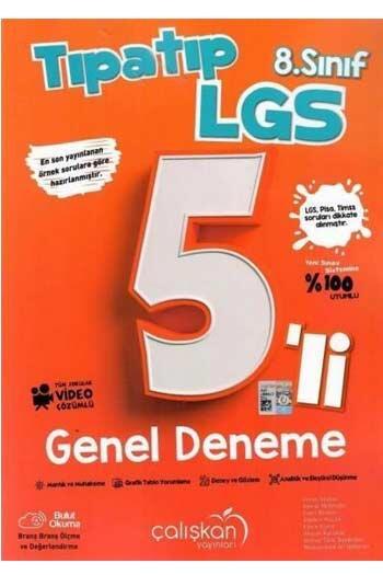 Çalışkan Yayınları - Çalışkan Yayınları 8. Sınıf LGS Tıpatıp 5'li Genel Deneme