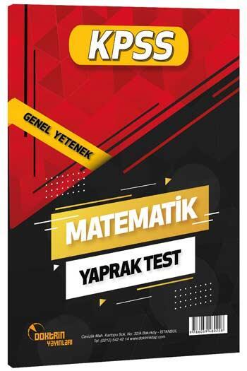 Doktrin Yayınları - Doktrin Yayınları 2021 KPSS Matematik Yaprak Test