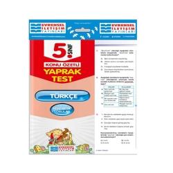 Evrensel İletişim Yayınları - Evrensel İletişim Yayınları 5. Sınıf Türkçe Konu Özetli Yaprak Test