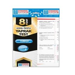 Evrensel İletişim Yayınları - Evrensel İletişim Yayınları 8. Sınıf Türkçe Konu Özetli Yaprak Test