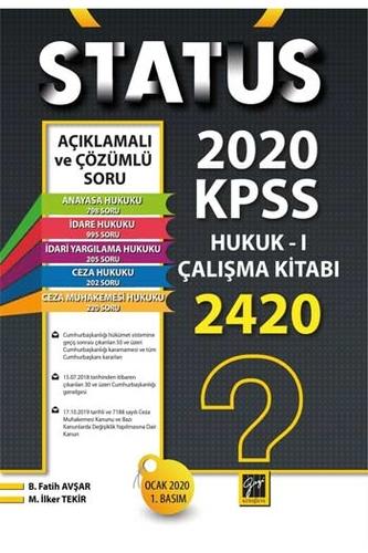 Gazi Kitabevi 2020 KPSS A Gurubu STATUS Hukuk-1 Çalışma Kitabı