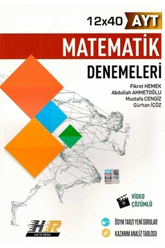 Hız ve Renk Yayınları AYT Matematik 12×40 Denemeleri