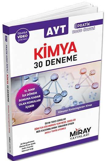 Miray Yayınları - Miray Yayınları AYT Kimya Tamamı Video Çözümlü 30 Deneme İlk Dönem
