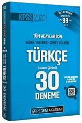 Pegem Akademi Yayıncılık - Pegem Yayınları 2020 KPSS Türkçe Tamamı Çözümlü 30 Deneme