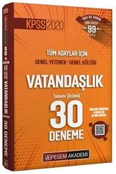 Pegem Akademi Yayıncılık - Pegem Yayınları 2020 KPSS Vatandaşlık Tamamı Çözümlü 30 Deneme