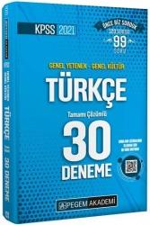 Pegem Akademi Yayıncılık - Pegem Yayınları 2021 KPSS Türkçe Tamamı Çözümlü 30 Deneme