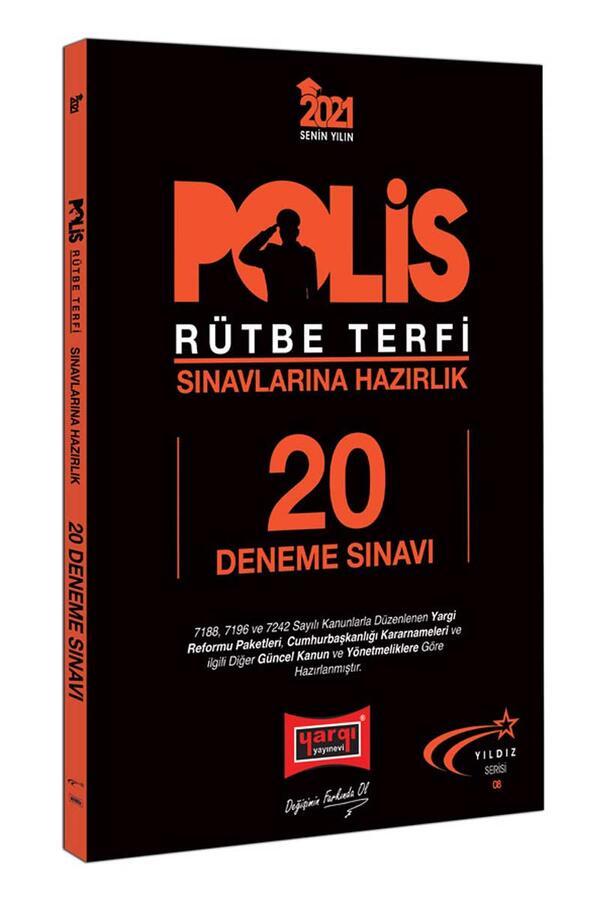 Yargı Yayınları - Yargı Yayınları 2021 Polis Rütbe Terfi Sınavlarına Hazırlık 20 Deneme Sınavı