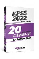 Yediiklim Yayınları - Yediiklim Yayınları 2022 KPSS Genel Kültür Vatandaşlık Tamamı Çözümlü 20 Deneme Sınavı