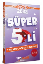 Yediiklim Yayınları - Yediiklim Yayınları 2022 KPSS Ortaöğretim Ön Lisans GY GK Tamamı Çözümlü Süper 5′li Deneme