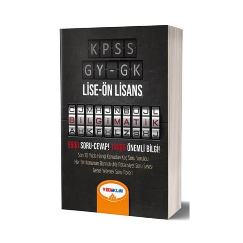 Yediiklim Yayınları KPSS Lise Ön Lisans Genel Yenek Genel Kültür Bilgimatik Konu Anlatımlı Örnek Soru Çözümlü Kitap