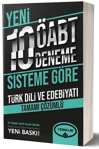Yediiklim Yayınları ÖABT Türk Dili ve Edebiyatı Öğretmenliği Tamamı Çözümlü 10 Deneme